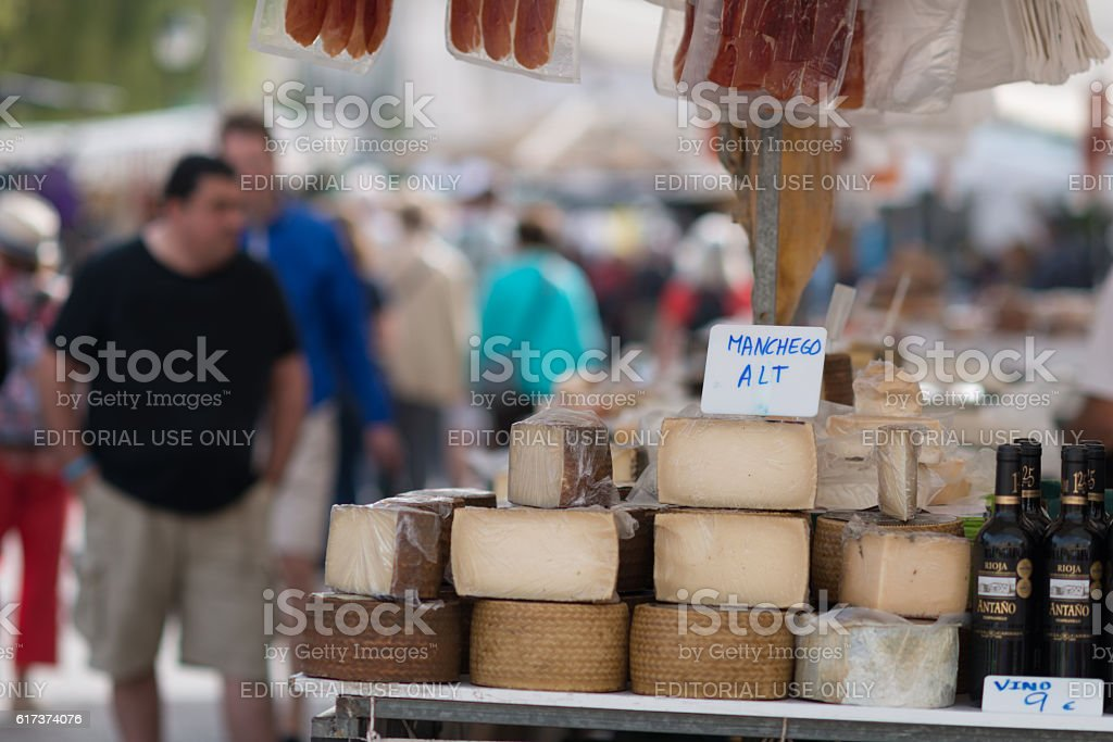 People selling cheese and shopping  in Sineu Mallorca stock photo