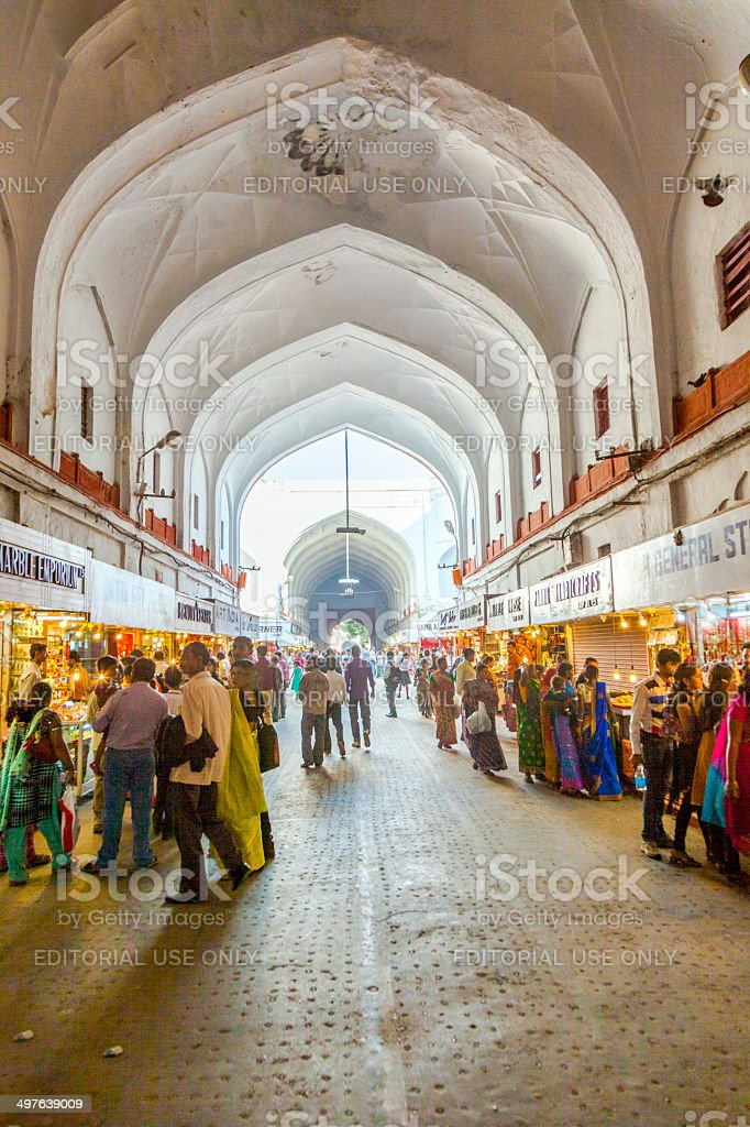 people shop inside the Bazaar in the Red Fort stock photo