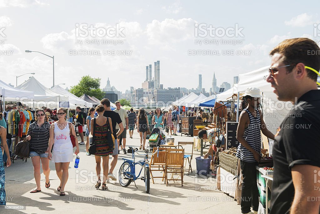 NYC People Shopping at Brooklyn Flea Market in Summer stock photo
