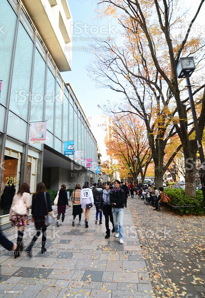 People shopping at Omotesando Street in Tokyo. stock photo
