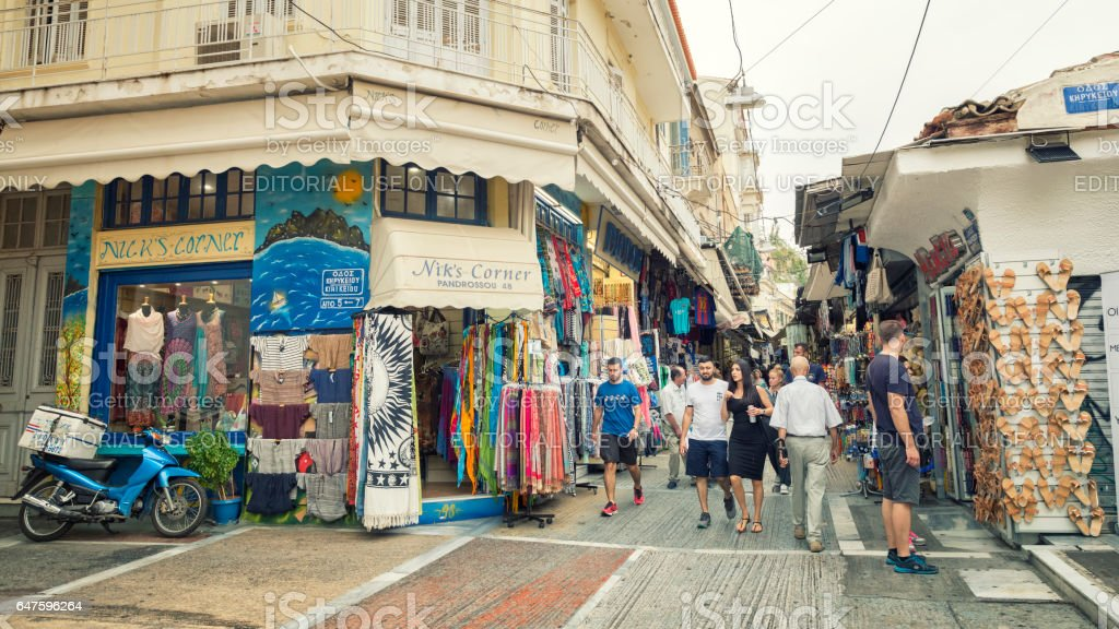 People Shopping At The Streets Of Plaka, Athens, Greece stock photo