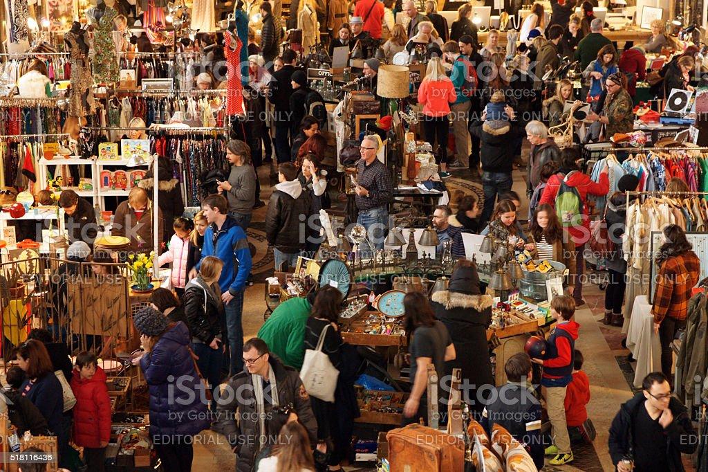 People Shopping at Winter Brooklyn Flea Market stock photo