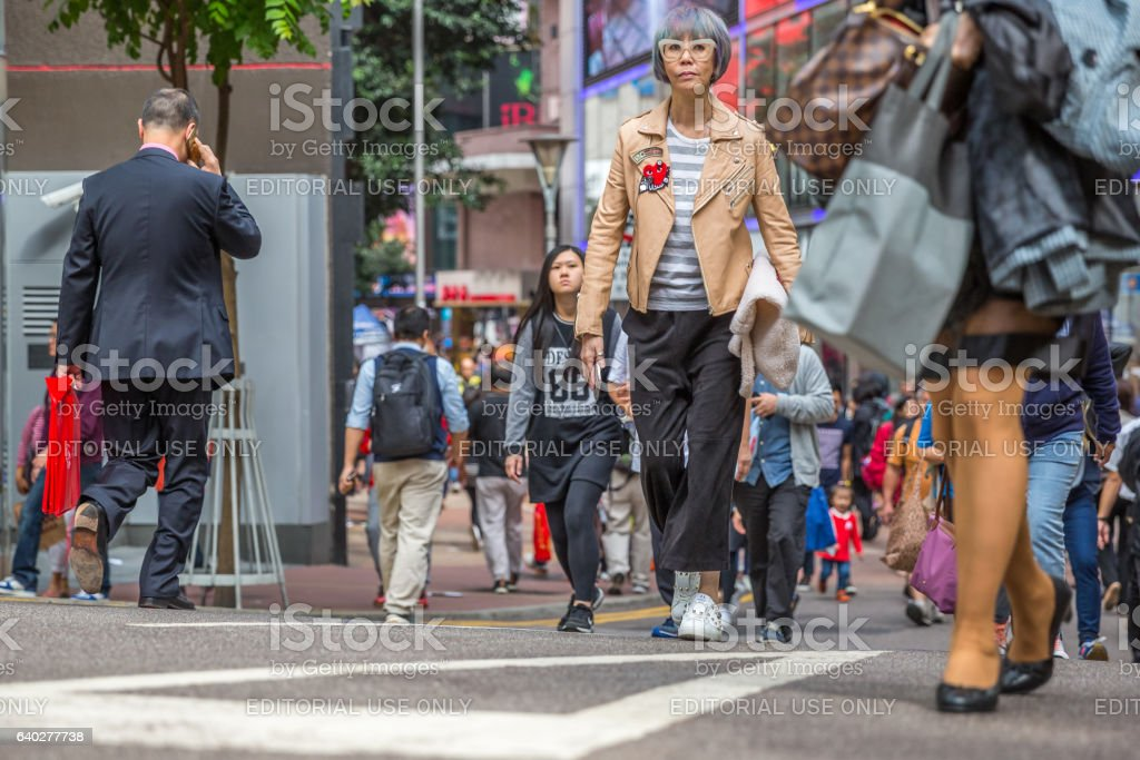 People shopping in Causeway Bay stock photo