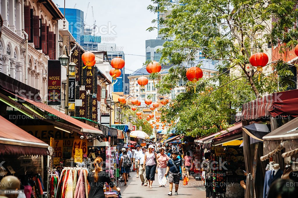 People Shopping in Chinatown, Singapore stock photo