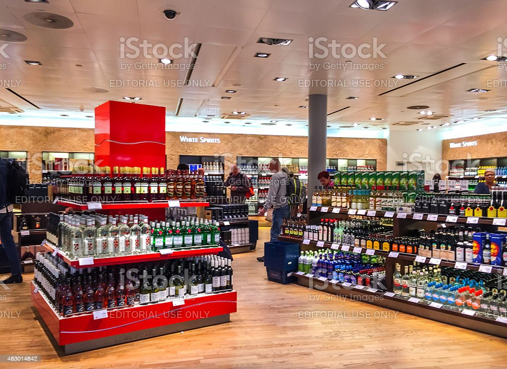 People shopping in Duty Free shops at Oslo Airport, Norway stock photo