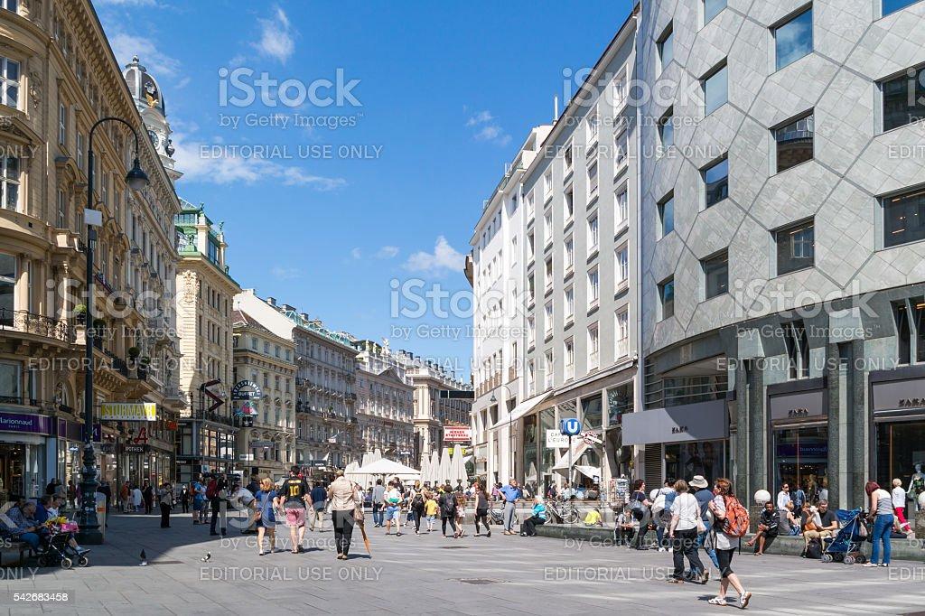 People shopping in Graben street, Vienna, Austria stock photo