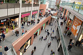 People shopping in Liverpool One mall.