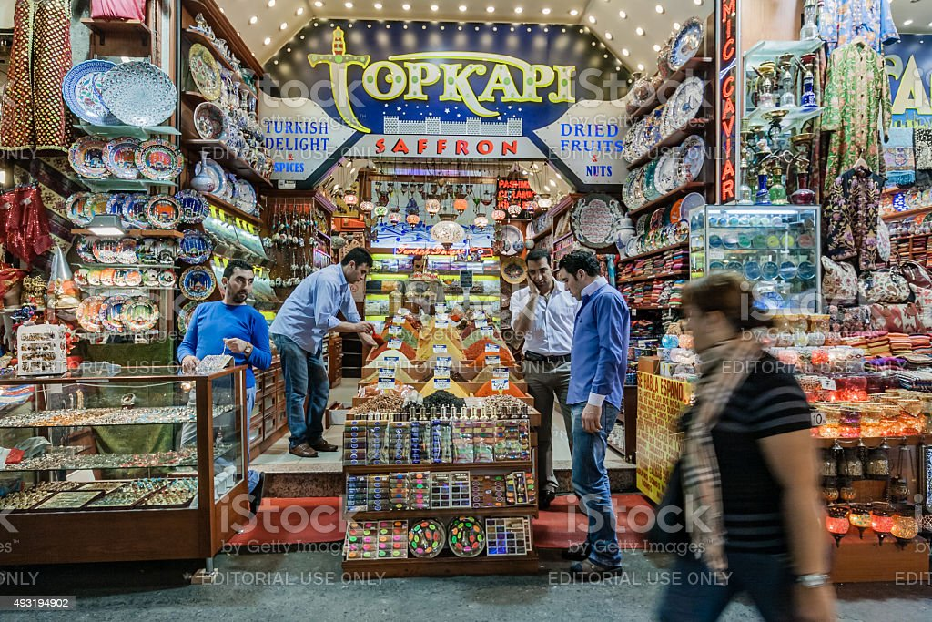 People Shopping in the Grand Bazaar in Istanbul, Turkey stock photo