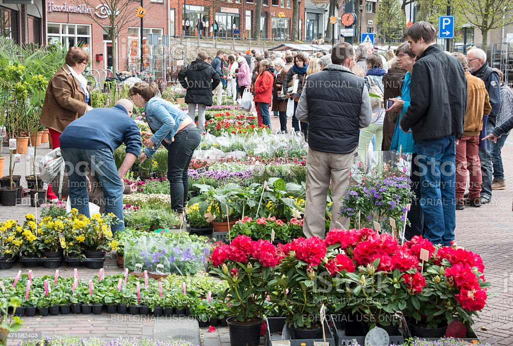 People shopping on the flower market stock photo
