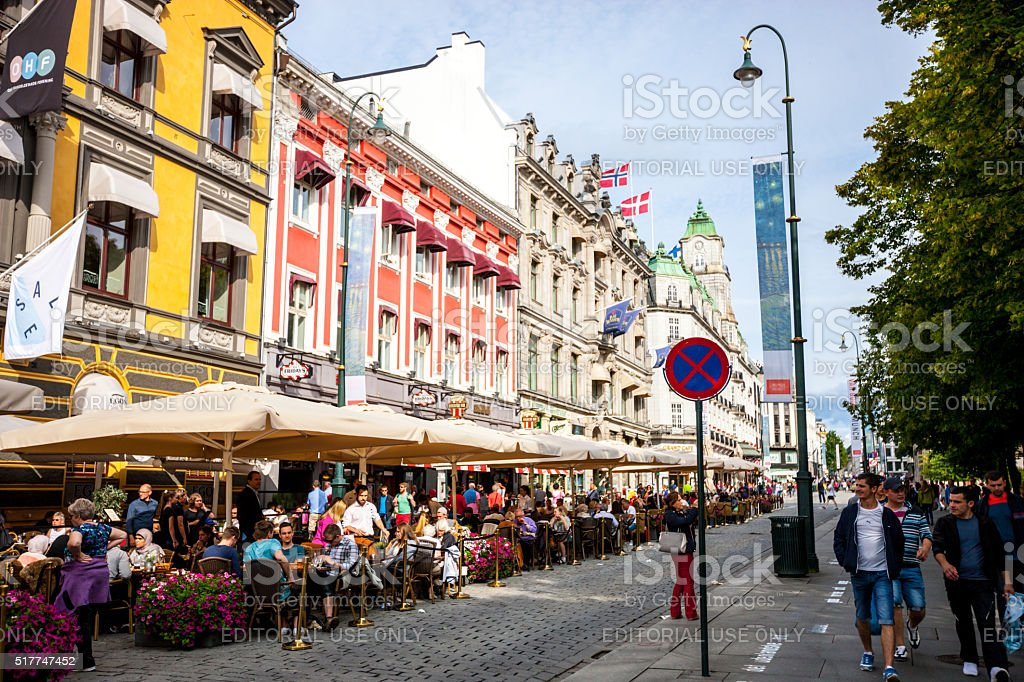 People sightseeing and relaxing in Oslo, Norway stock photo