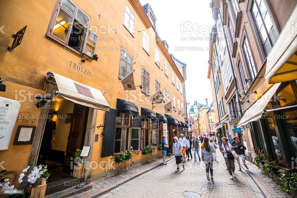 People sightseeing and shopping in Gamla stan, Stockholm stock photo