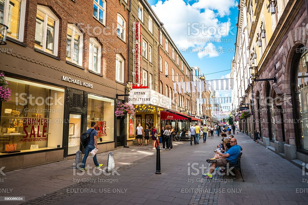 People sightseeing and shopping in Stockholm, Sweden stock photo