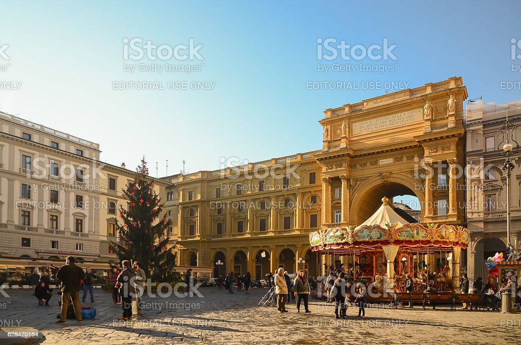 People sightseeing before christmas around Piazza della Repubblica stock photo