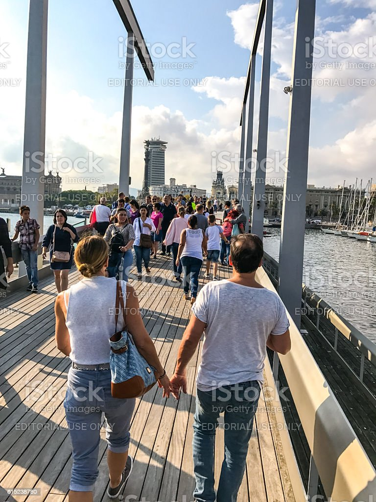 People sightseeing in Port Vell, Barcelona, Spain stock photo