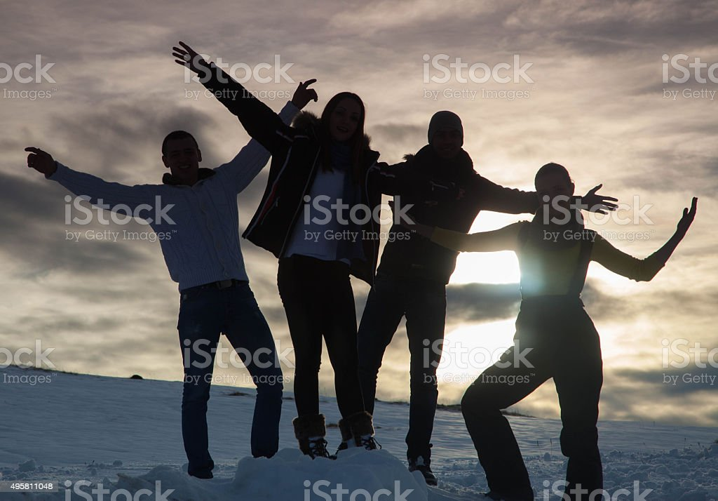 people silhouette stock photo