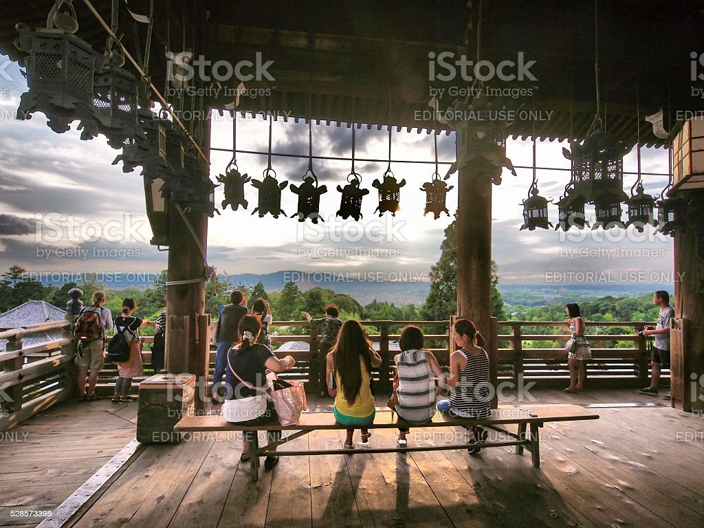People sitting at view point at Nigatsu do Hall stock photo