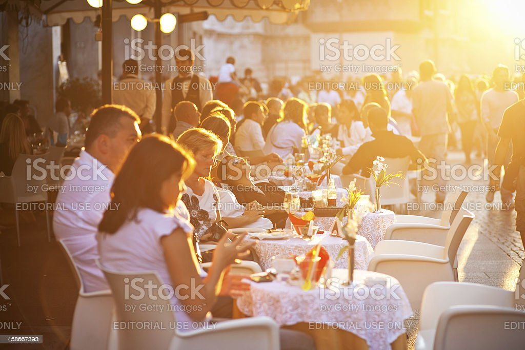People sitting in a cafe stock photo