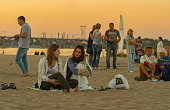 People sitting on a Dnepr river beach