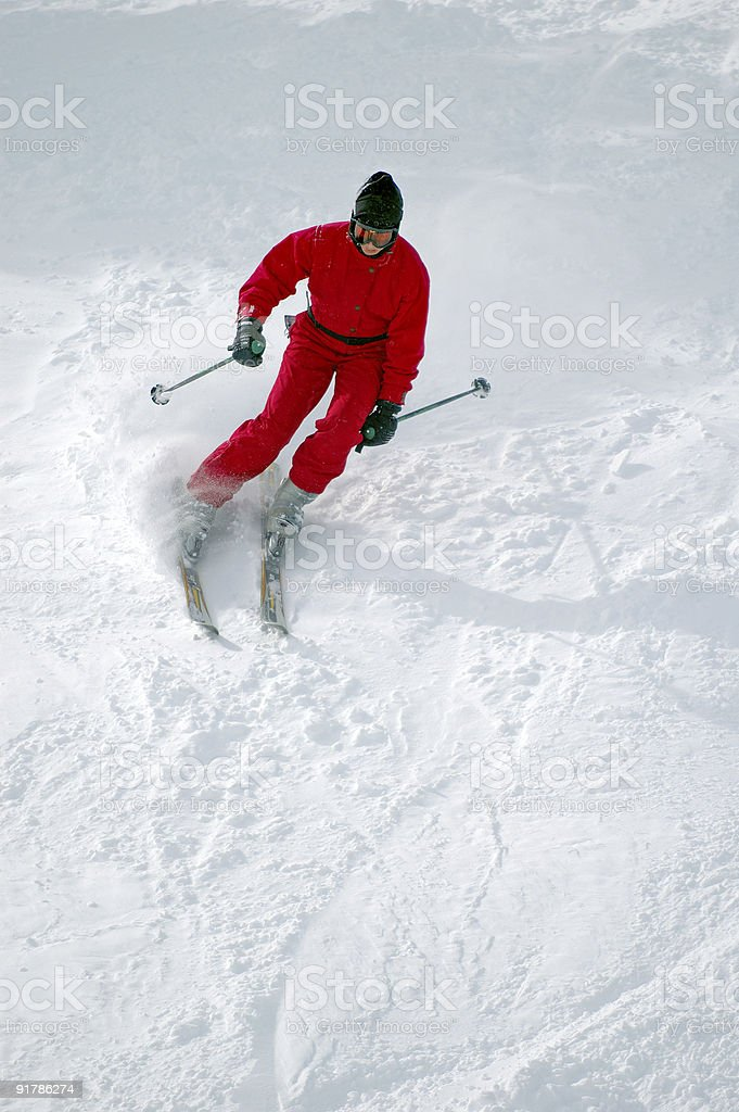People : Skier Red royalty-free stock photo