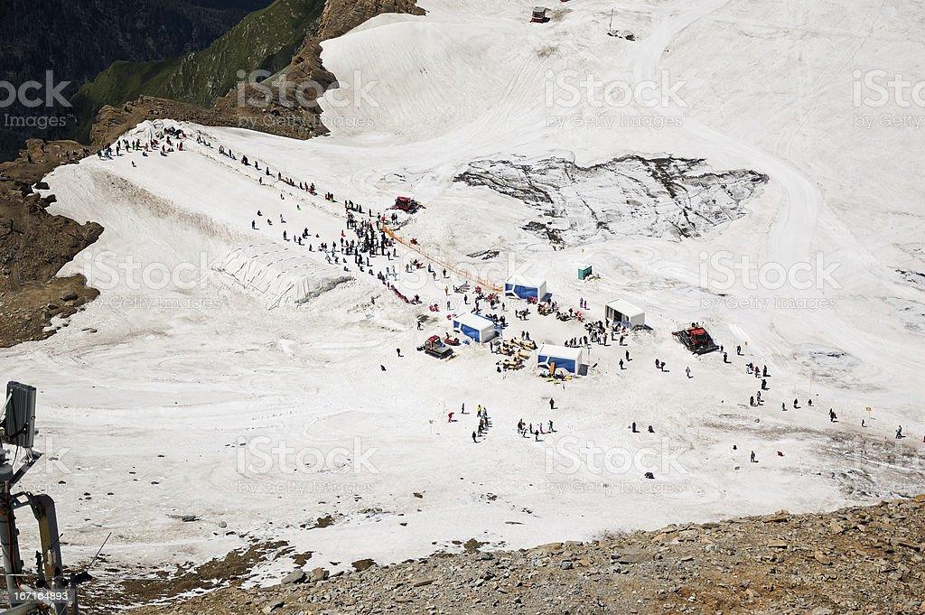 People skiing at summer royalty-free stock photo