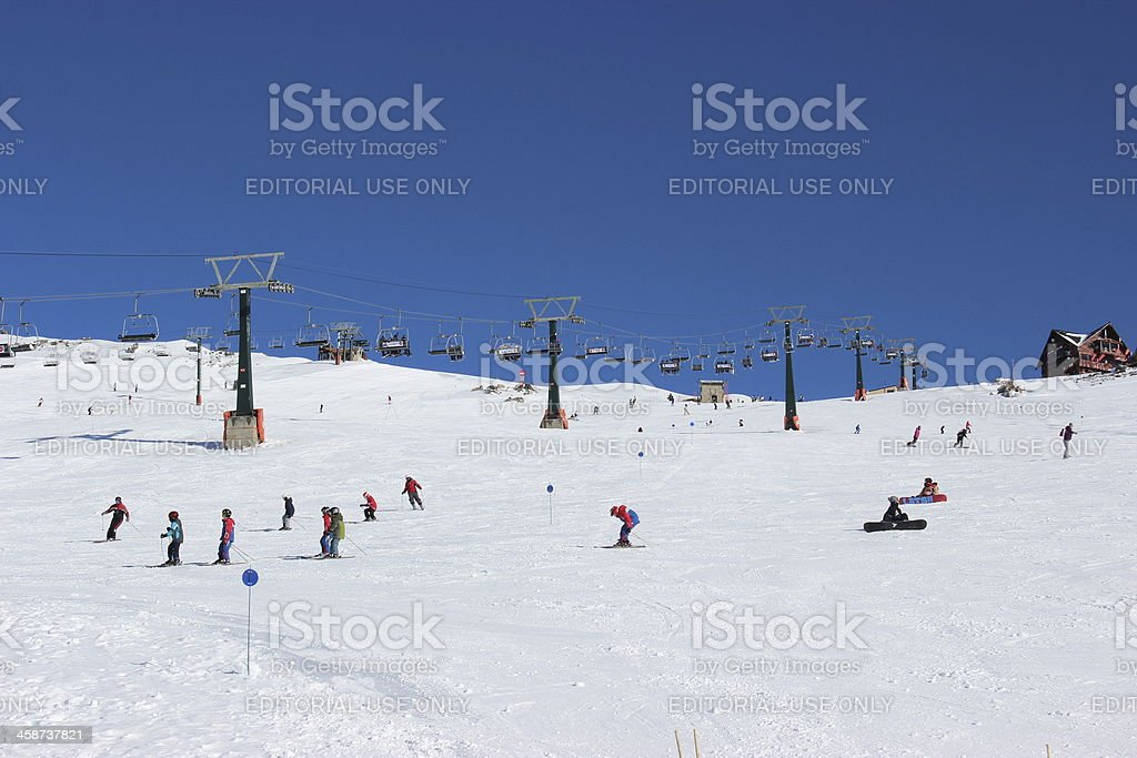 People skiing at the Ski Resort on CERRO CATEDRAL stock photo