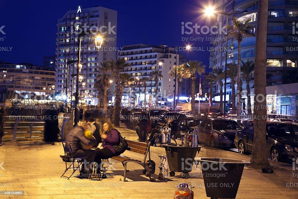 People smoking nargilas in Beirut stock photo