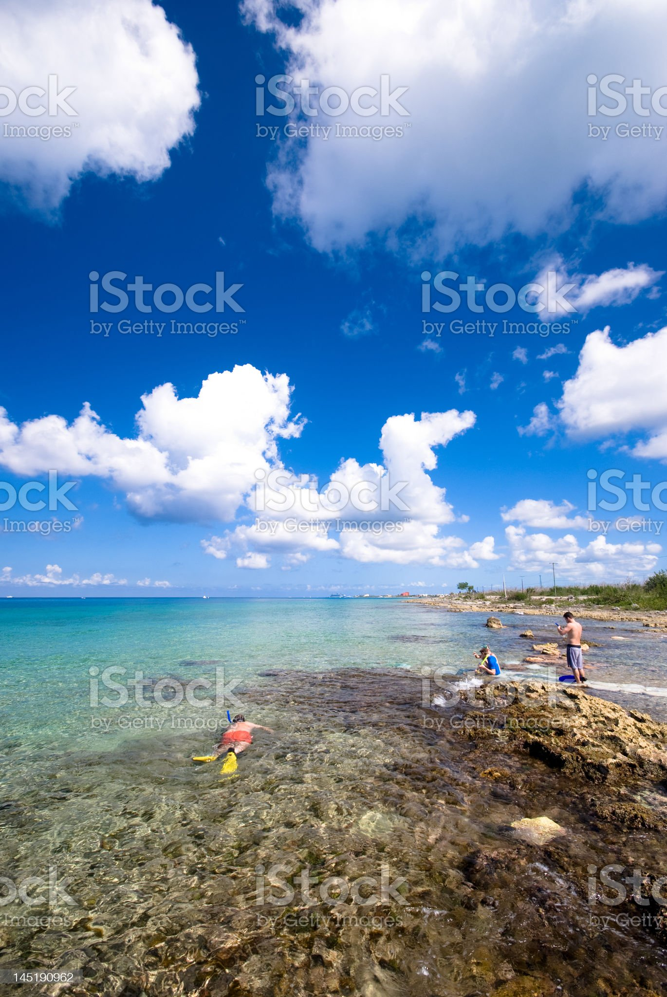 People snorkeling at the beach in Cozumel, Mexico royalty-free stock photo