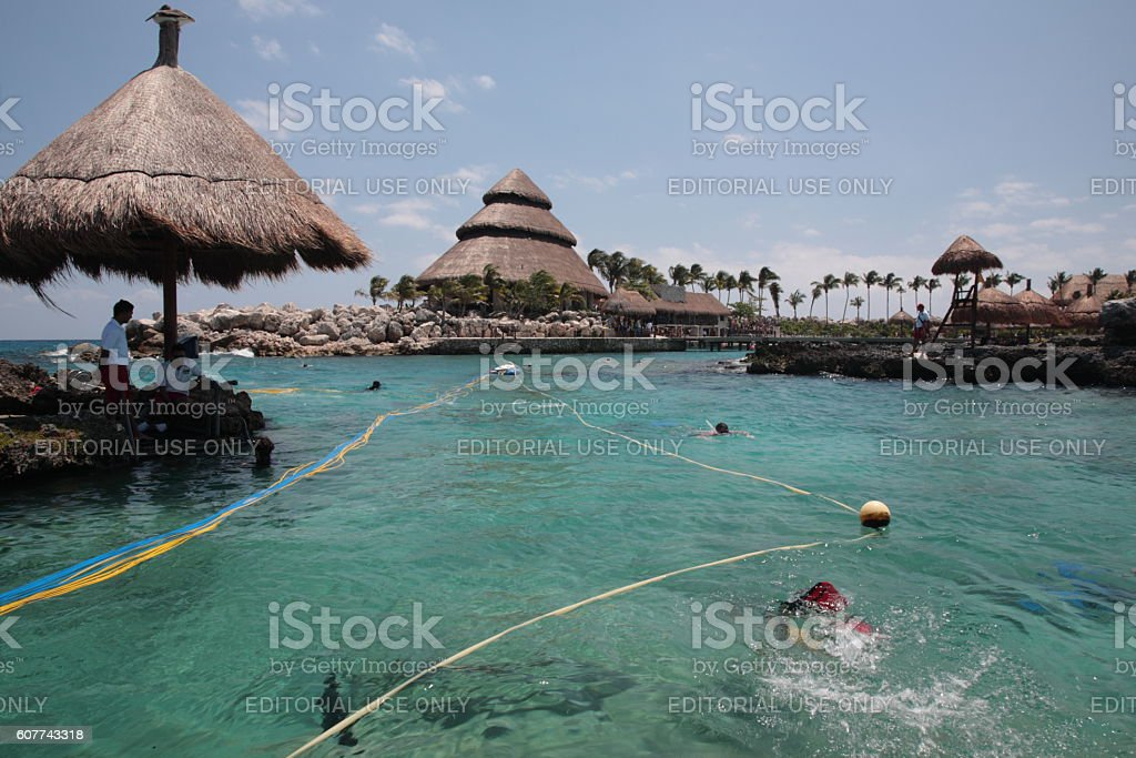 People snorkeling at Xcaret, Mexico stock photo