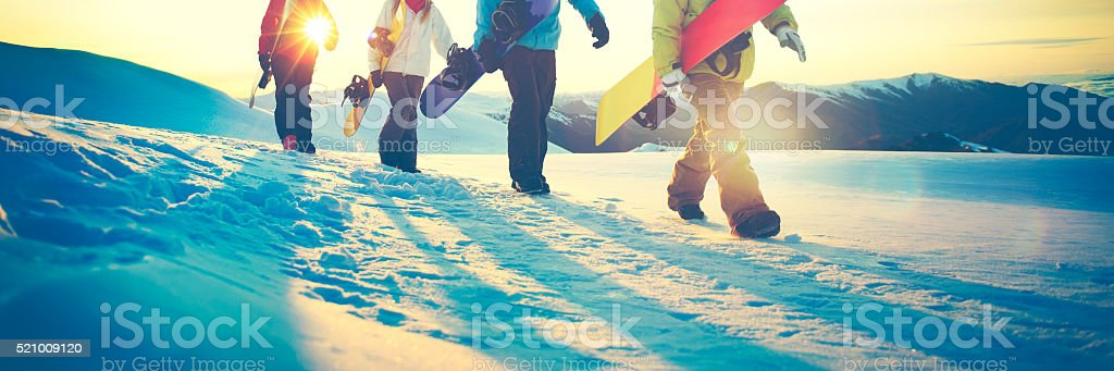 People Snowboard Winter Sport Friendship Concept stock photo