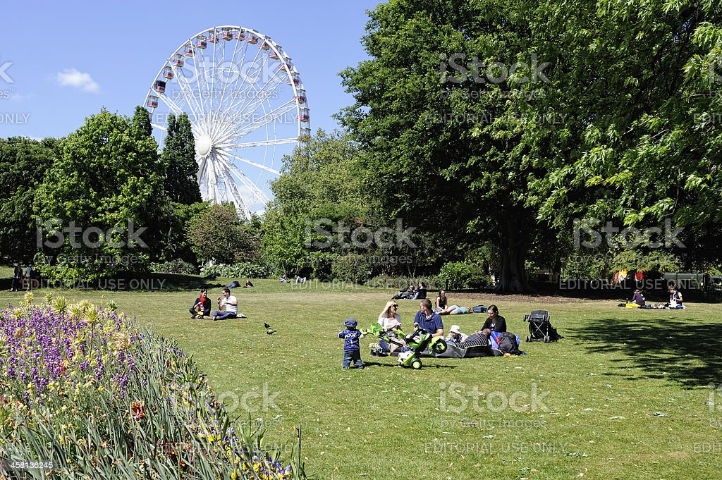 People Spending Afternoon in Hyde Park London stock photo