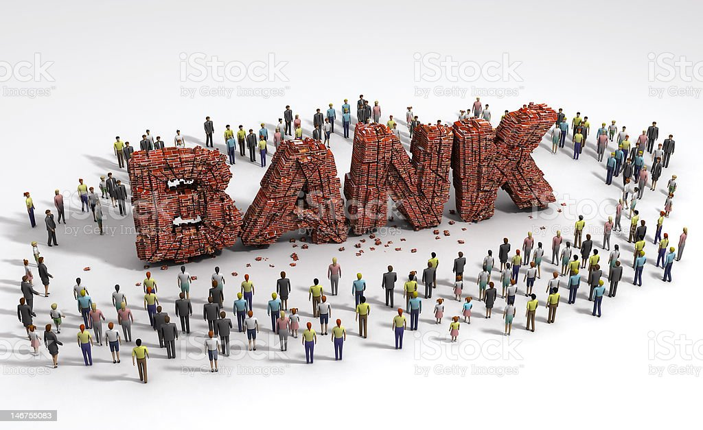 people standing around of bank ruin stock photo