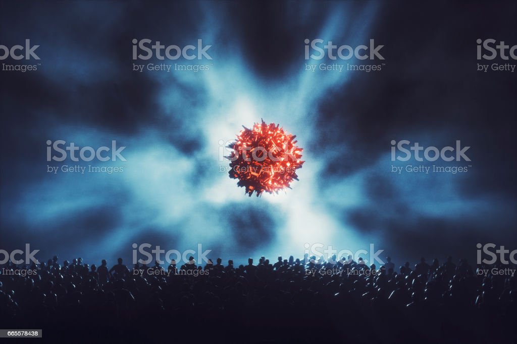 People standing in front of landing UFO stock photo