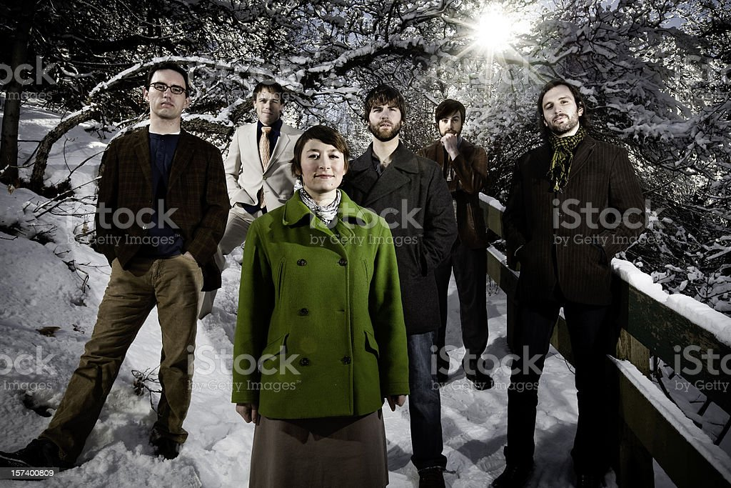 People standing outside in the snow royalty-free stock photo