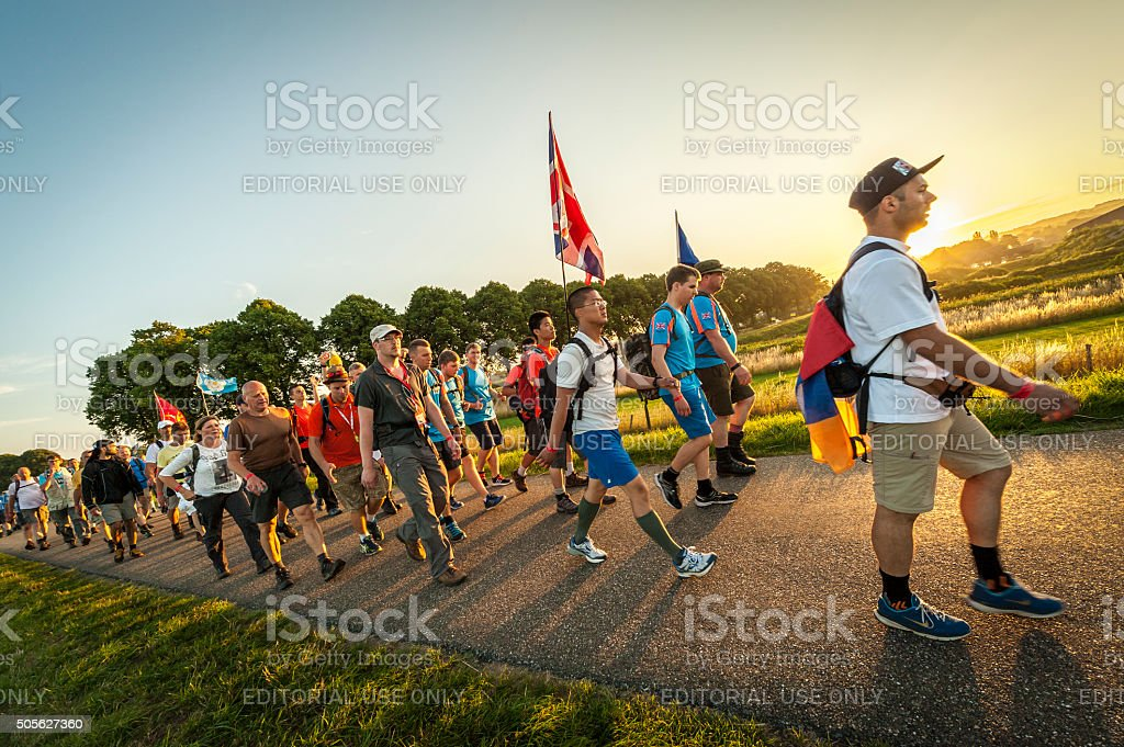People start early on Walking Event stock photo
