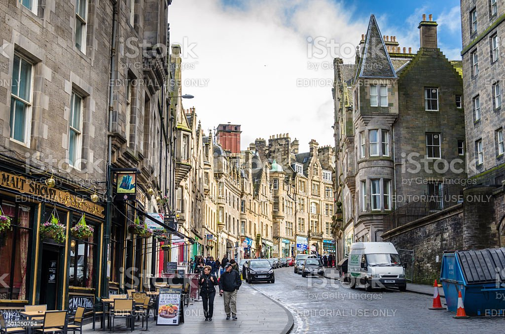 People Strolling around Edinburgh's City Centre stock photo