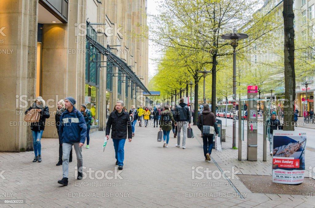 People Strolling around Mönckebergstrasse in Hamburg City Centre stock photo