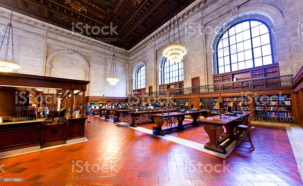 people study in the New York Library stock photo