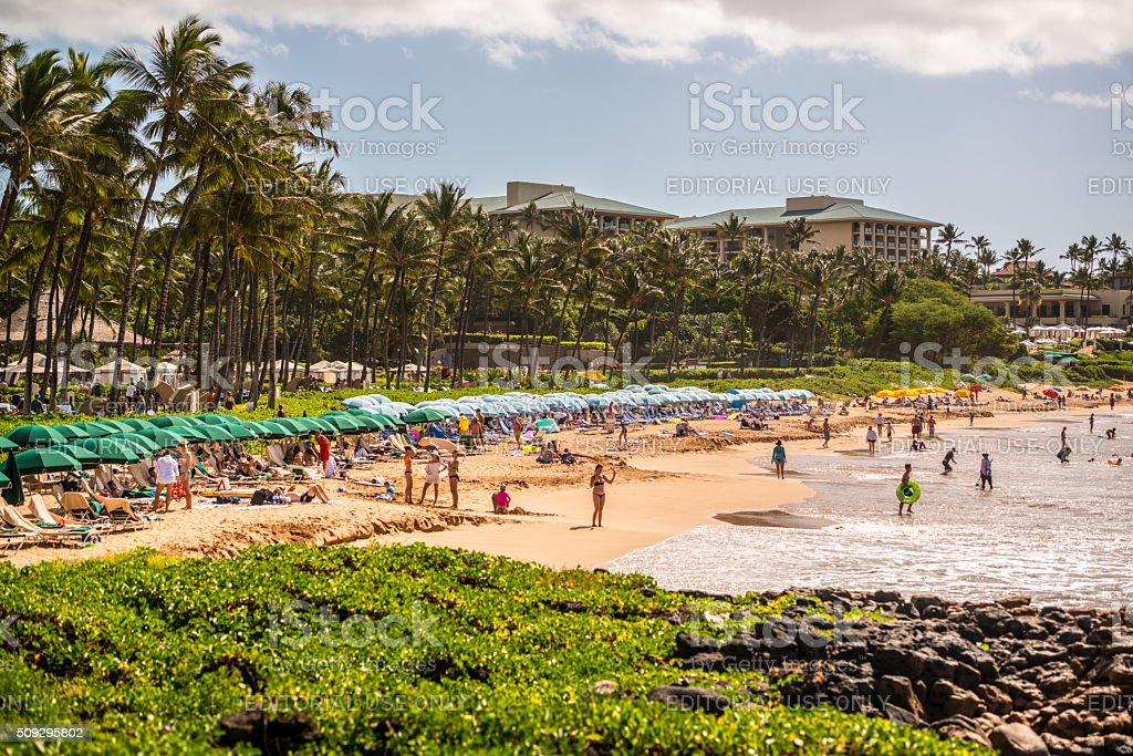 People sunbathing on Wailea Beach, Hawaii, USA stock photo