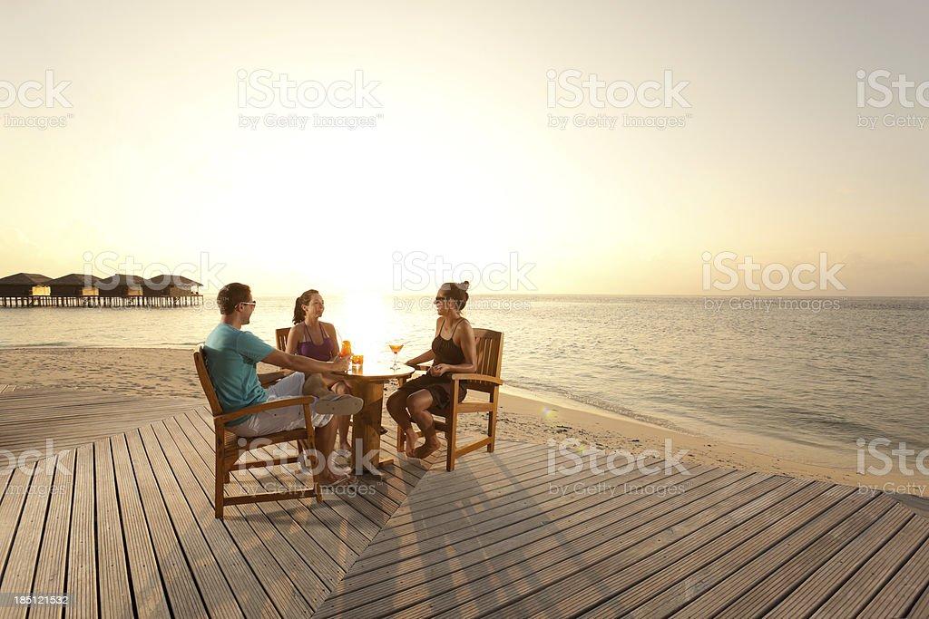 people sunset drinks stock photo