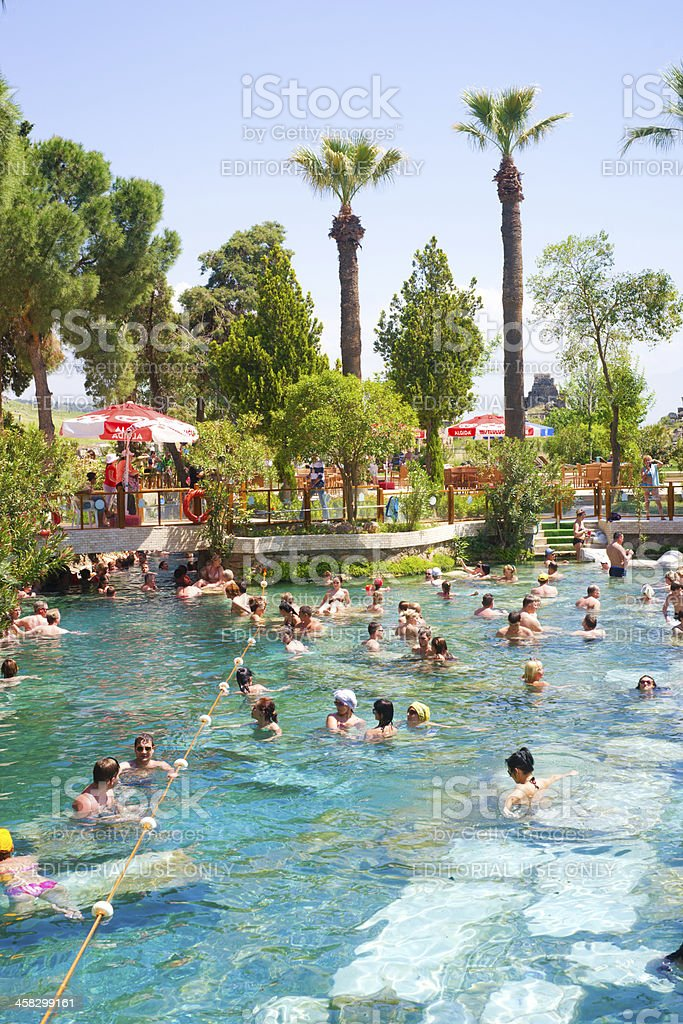 People swim in Cleopatra pools near Pamukkale, Turkey stock photo