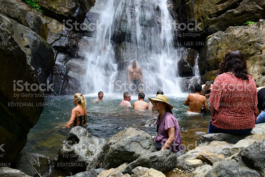 People at El Yunque Rainforest stock photo