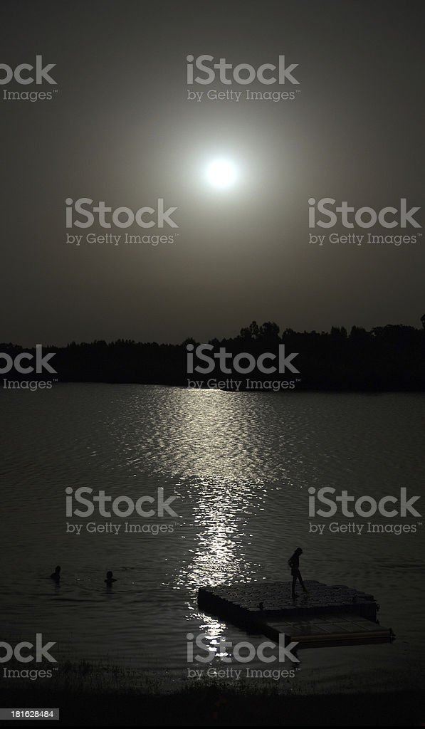 People swimming in moonlight royalty-free stock photo