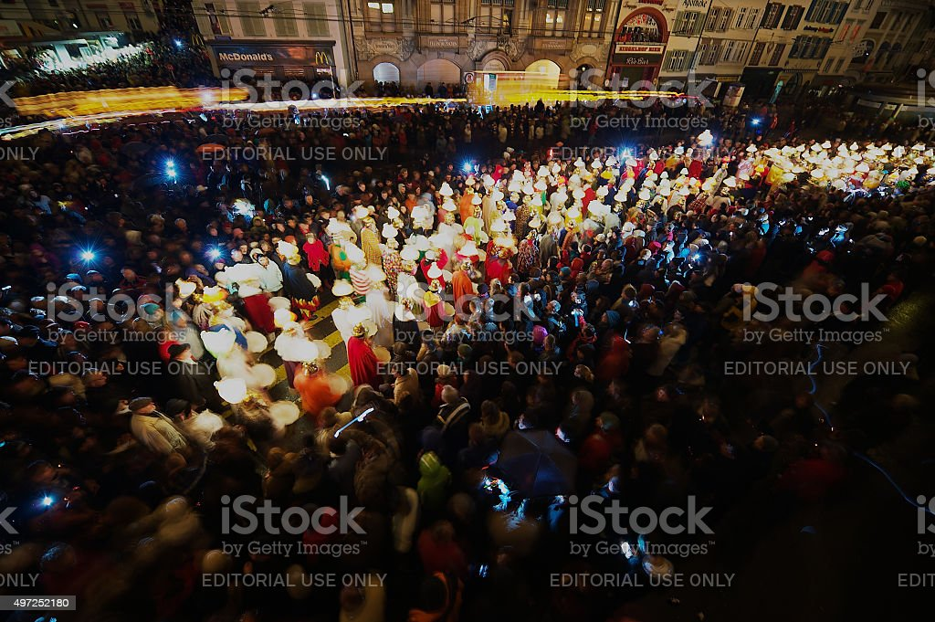 People take part in Carnival opening in Basel, Switzerland. stock photo