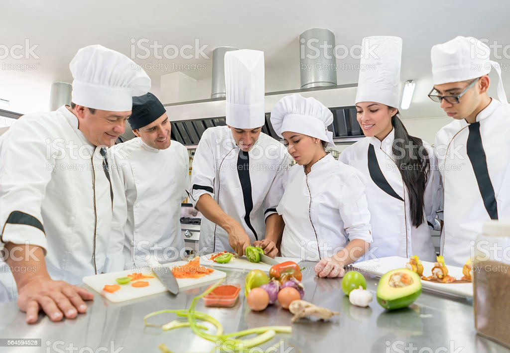 People taking a cooking class stock photo