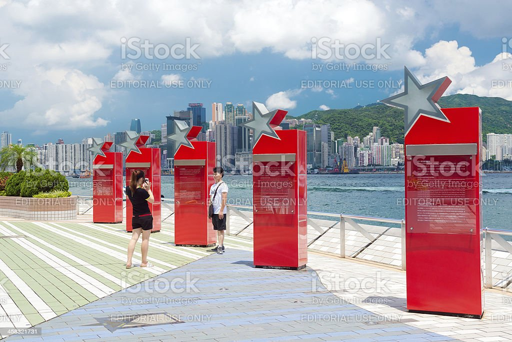 People taking pictures in Avenue of the Stars Hong Kong stock photo