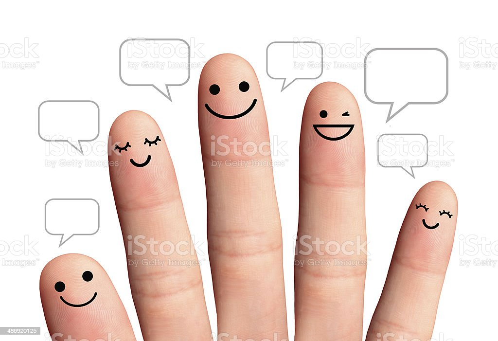 People talk in speech bubbles, isolated with clipping paths. stock photo