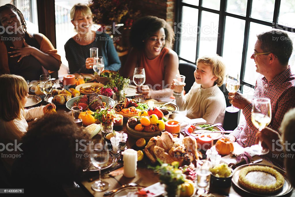 People Talking Celebrating Thanksgiving Holiday Concept stock photo