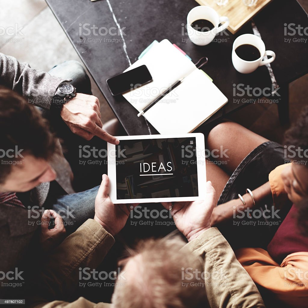 People Team Working Together Ideas Tablet Concept stock photo