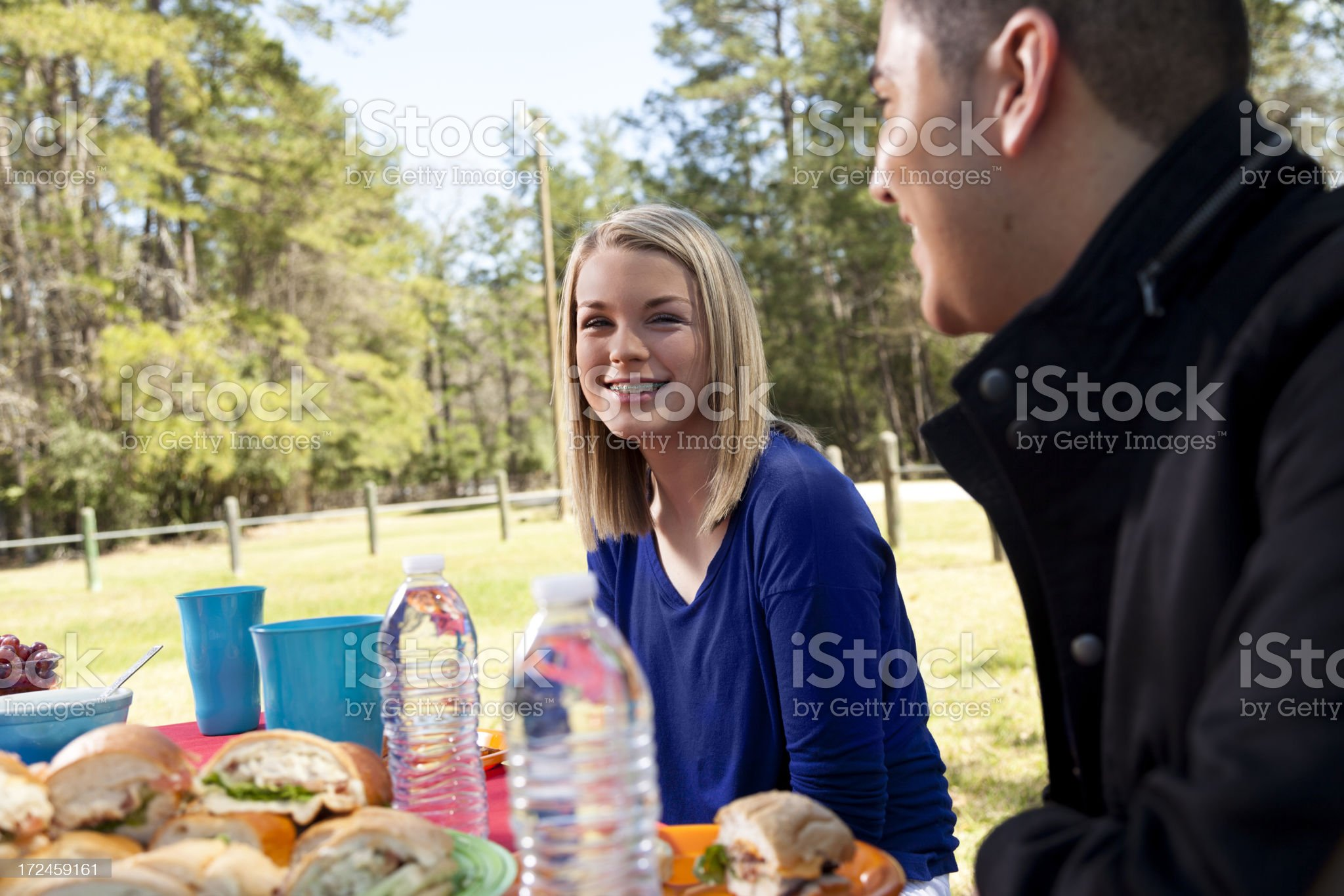 People:  Teen and young adult at a picnic royalty-free stock photo
