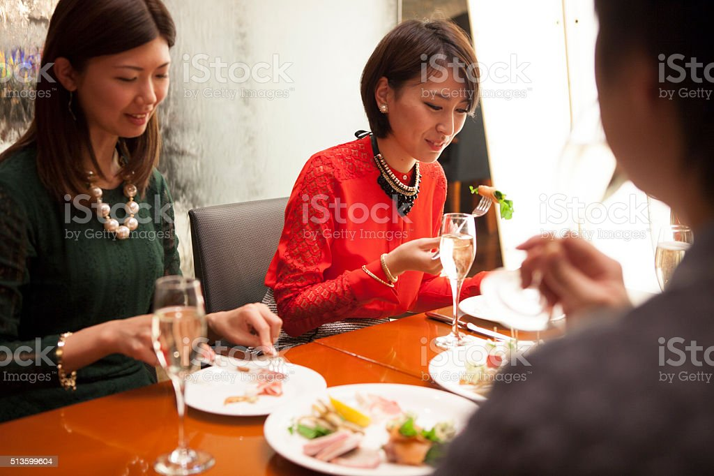 People to eat in the restaurant stock photo